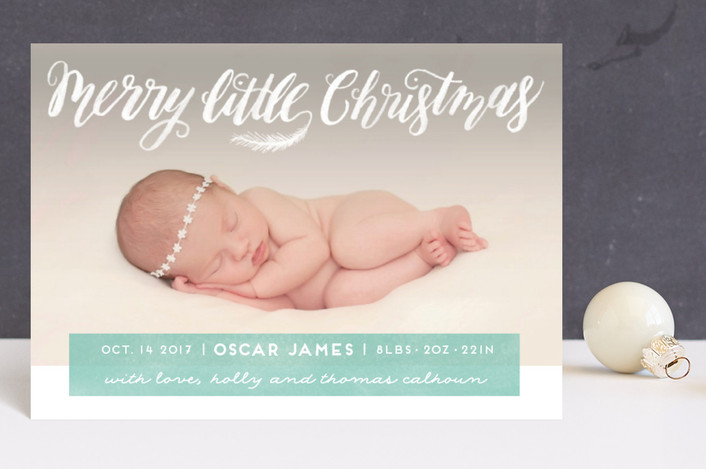 """""""Littlest Merry"""" - Hand Drawn Holiday Birth Announcement Postcards in Sea Green by Pink House Press."""