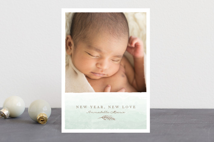"""""""merry little addition"""" - Elegant, Hand Drawn Holiday Birth Announcement Postcards in Mint by Karidy Walker."""