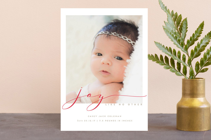 """tiramisu"" - Classical, Elegant Holiday Birth Announcement Postcards in Berry by chocomocacino."