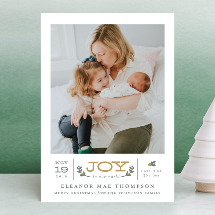 """Joy to Our World"" - Elegant, Rustic/Craft Holiday Birth Announcement Postcards in Golden by Sarah Brown."