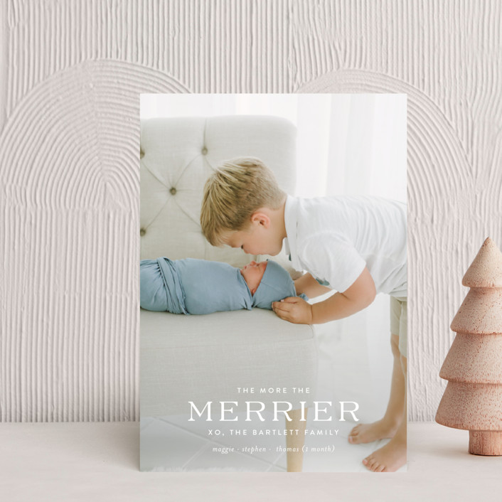 """""""party of more"""" - Full-Bleed Photo, Modern Holiday Birth Announcement Postcards in Snowflake by Toast & Laurel."""