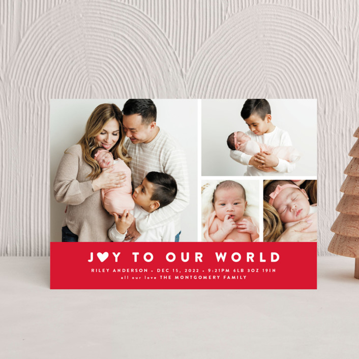 """Our Little World"" - Full-Bleed Photo, Modern Holiday Birth Announcement Postcards in Berry by Roxy Cervantes."