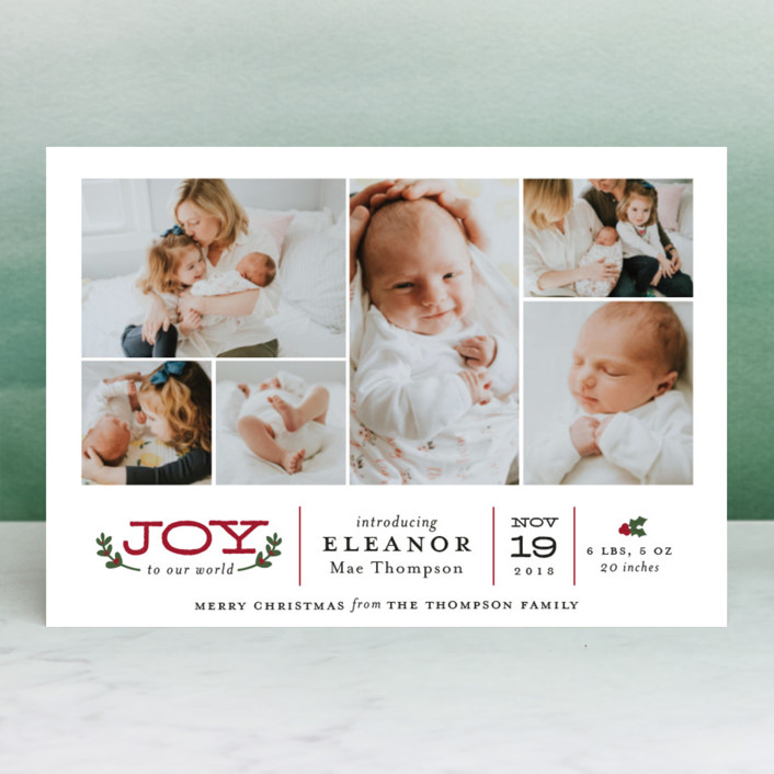 """Joy to Our World"" - Elegant, Photo Collage Holiday Birth Announcement Postcards in Holly by Sarah Guse Brown."