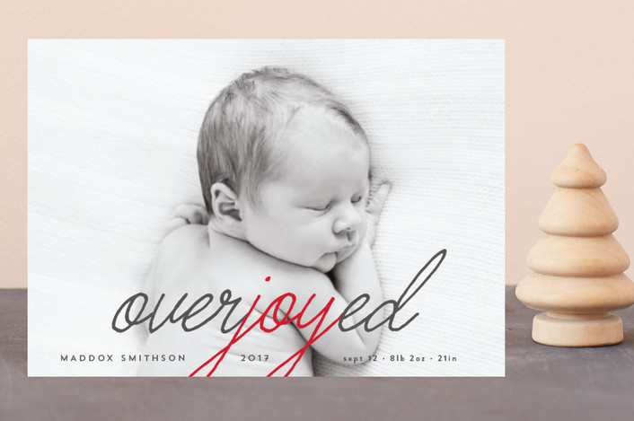 """Overjoyed"" - Modern Holiday Birth Announcement Postcards in Crimson by Kanika Mathur."