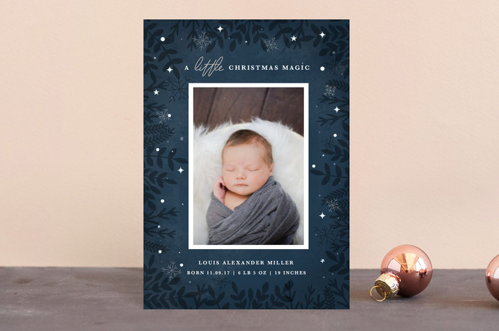 """A Little Magic"" - Holiday Birth Announcement Postcards in Navy by Bonjour Berry."