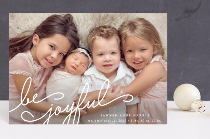 """Family Joy"" - Holiday Birth Announcement Postcards in Snow by Jennifer Postorino."