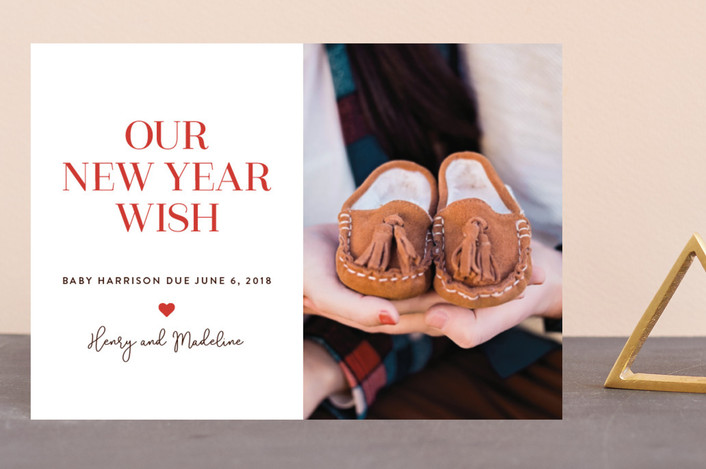 """Christmas Wish"" - Holiday Birth Announcement Postcards in Holly by Kelly Nasuta."