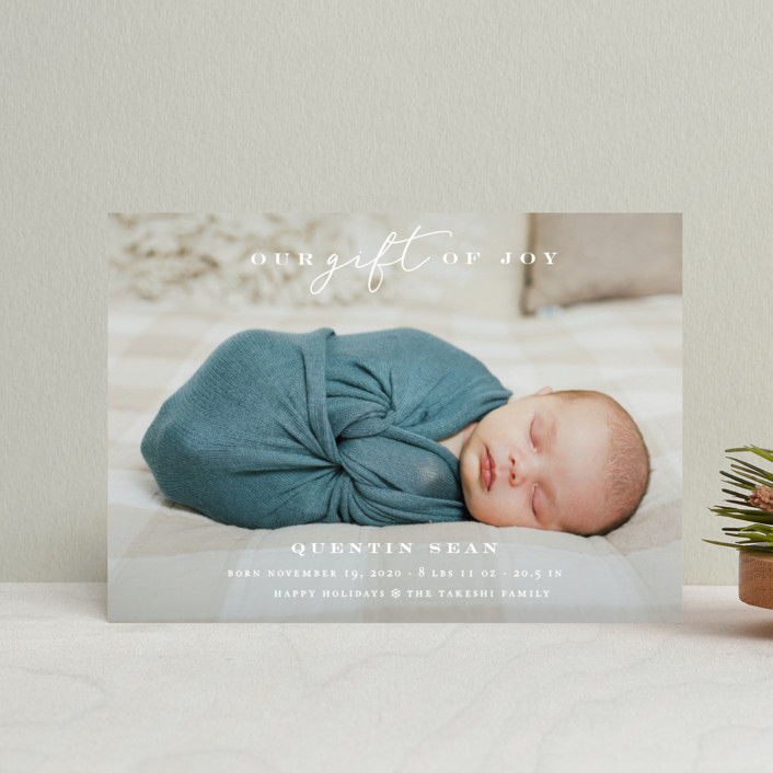 """""""Our Gift Of Joy"""" - Holiday Birth Announcement Postcards in Snow by fatfatin."""