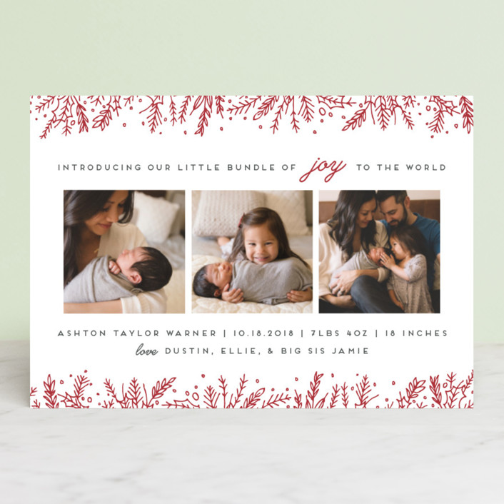 """Introducing with Joy"" - Holiday Birth Announcement Postcards in Candy Cane by Bethan."