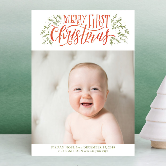 """""""Merry First"""" - Bohemian Holiday Birth Announcement Postcards in Persimmon by Grace Kreinbrink."""