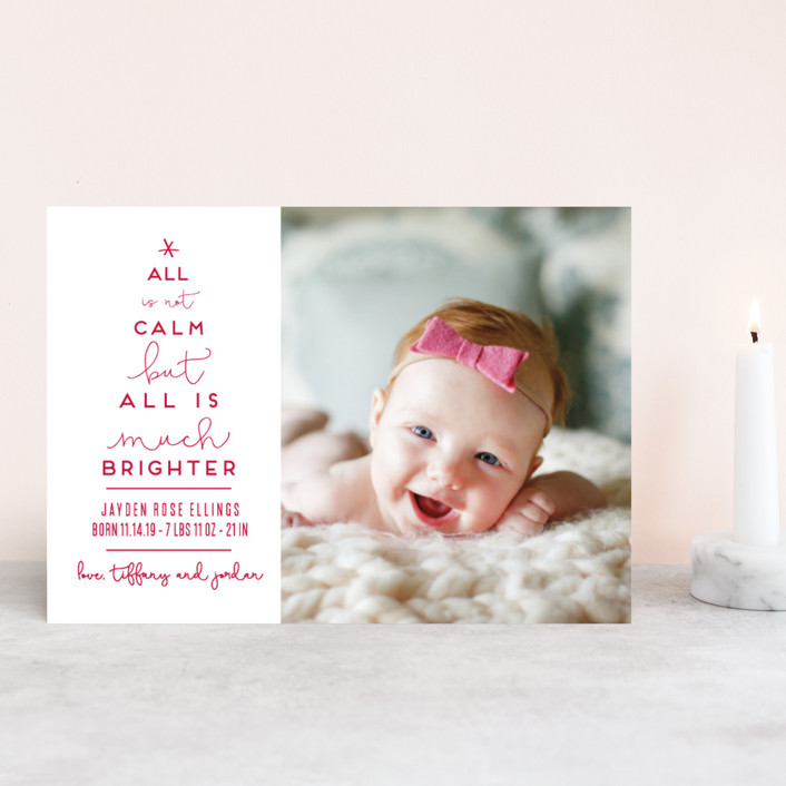 """Less Calm More Bright"" - Funny Holiday Birth Announcement Postcards in Candy Cane by Kaydi Bishop."