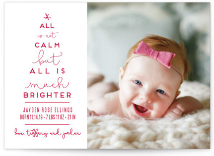 Less Calm More Bright Holiday Birth Announcement Postcards
