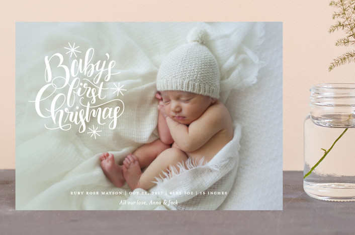 """Starry First"" - Holiday Birth Announcement Postcards in Snow by Snow and Ivy."