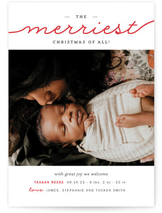 The Merriest Christmas Of All Holiday Birth Announcement Postcards