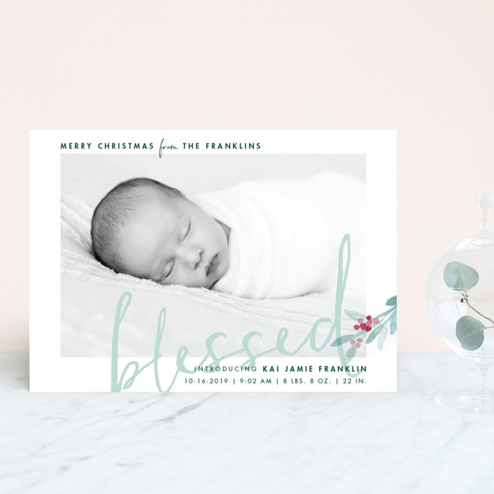 """We Are Blessed"" - Holiday Birth Announcement Postcards in Mint by Qing Ji."