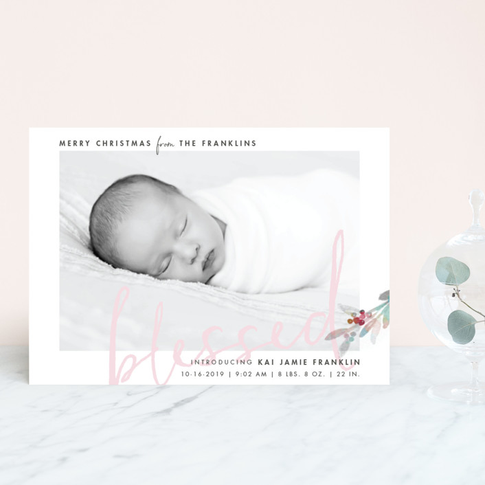 """""""We Are Blessed"""" - Holiday Birth Announcement Postcards in Cotton Candy by Qing Ji."""
