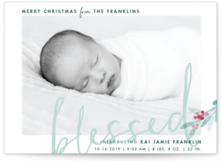 We Are Blessed Holiday Birth Announcement Postcards