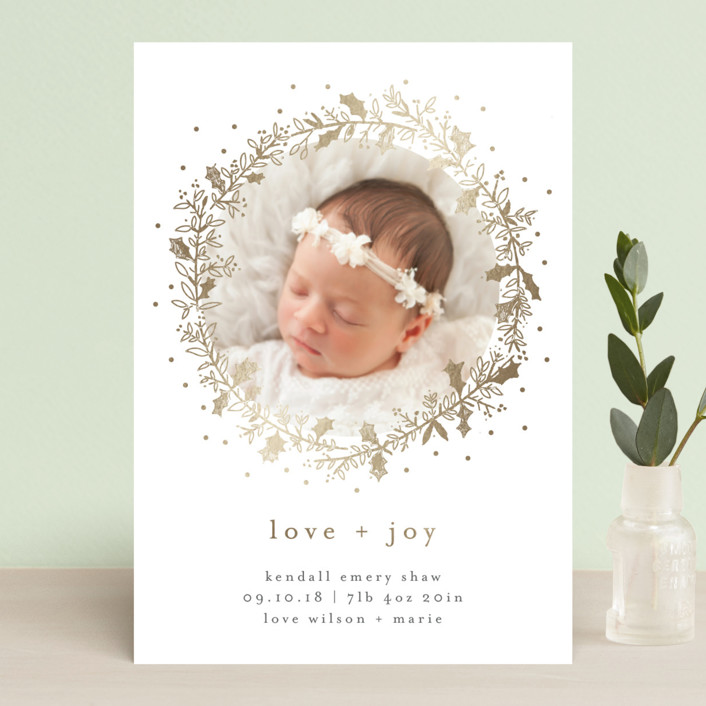 """Holly Jolly and Bright"" - Bohemian, Elegant Holiday Birth Announcement Postcards in Sand by Bethan."