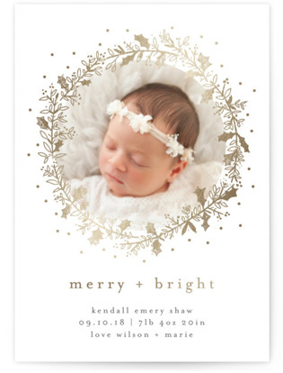 Holly Jolly and Bright Holiday Birth Announcement Postcards