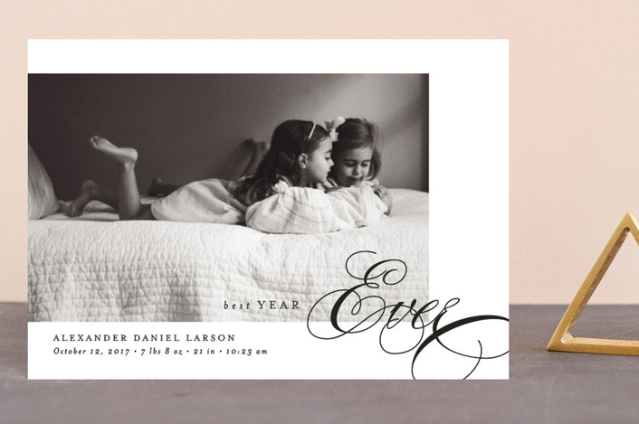 """""""Thrill of Hope"""" - Holiday Birth Announcement Postcards in Charcoal by Amy Payne."""