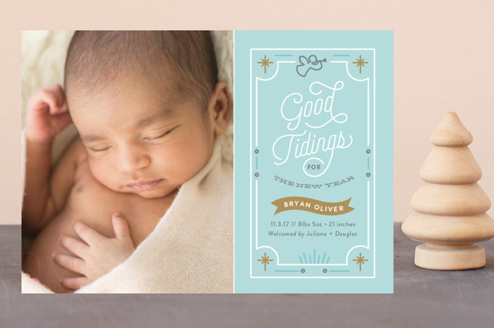 """Good Tidings"" - Holiday Birth Announcement Postcards in Powder Blue by Genna Cowsert."