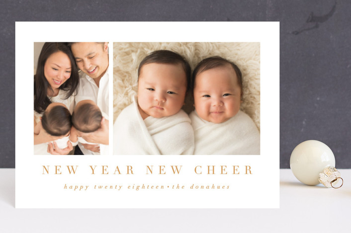 """new cheer"" - Holiday Birth Announcement Postcards in Golden by Angela Garrick."