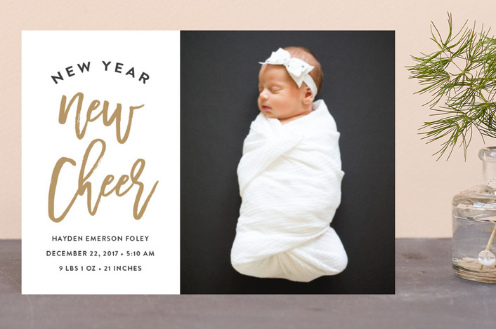 """baby cheer"" - Modern Holiday Birth Announcement Postcards in Honey by Susan Asbill."