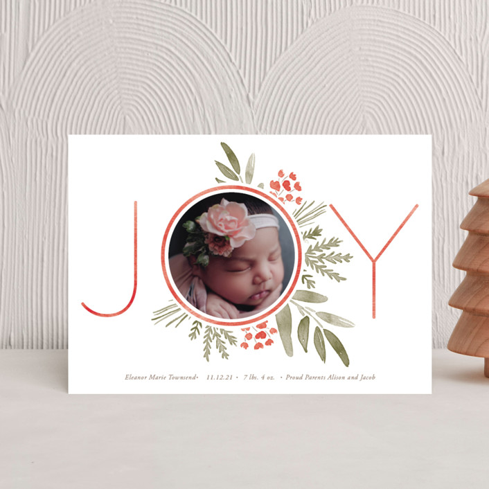 """Ultimate Joy"" - Holiday Birth Announcement Postcards in Berry by Oscar & Emma."