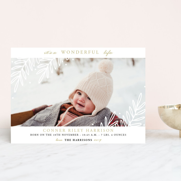 """So Wonderful!"" - Holiday Birth Announcement Postcards in Golden by Oma N. Ramkhelawan."