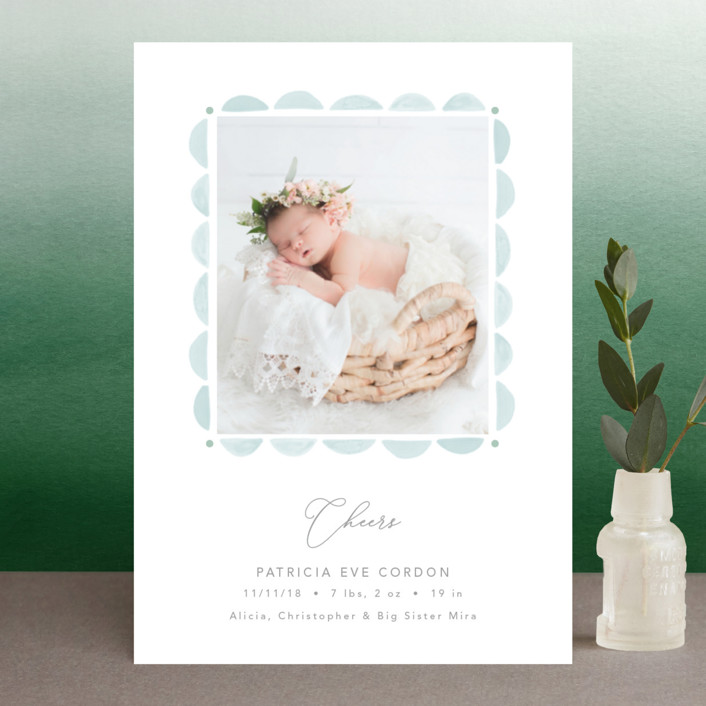 """""""Scalloped Watercolor Frame"""" - Holiday Birth Announcement Postcards in Winter Sky by Erika Firm."""