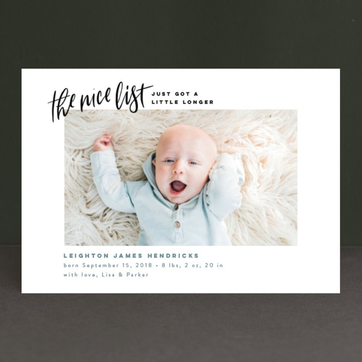 """""""Made the Nice List"""" - Funny Holiday Birth Announcement Postcards in Snow by Pink House Press."""