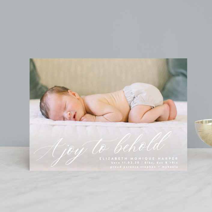 """""""A Joy to Behold"""" - Holiday Birth Announcement Postcards in Snow by Bonjour Berry."""