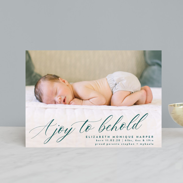 """A Joy to Behold"" - Holiday Birth Announcement Postcards in Teal by Bonjour Berry."