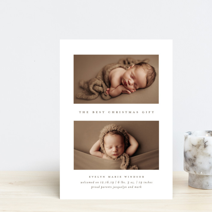 """The Best Gift"" - Holiday Birth Announcement Postcards in Mocha by Bethany McDonald."