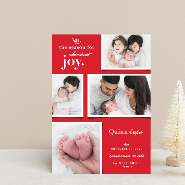 """Abundant Joy"" - Holiday Birth Announcement Postcards in Cranberry by fatfatin."