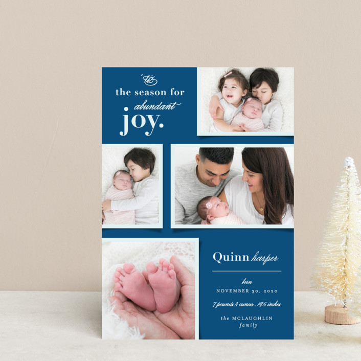 """Abundant Joy"" - Holiday Birth Announcement Postcards in Navy by fatfatin."