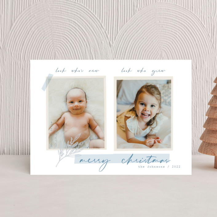 """""""We Grew"""" - Bohemian Holiday Birth Announcement Postcards in Posy by Rebecca Daublin."""