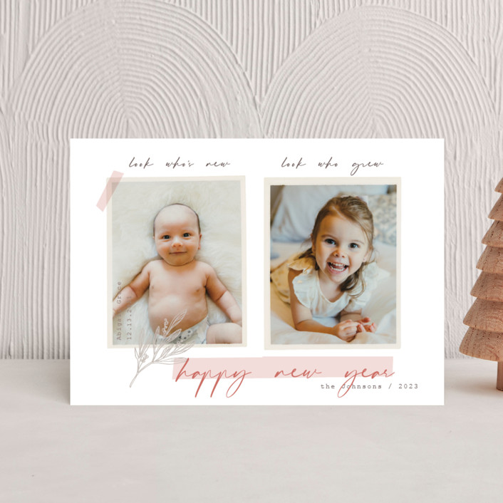 """We Grew"" - Bohemian Holiday Birth Announcement Postcards in Moss by Rebecca Daublin."