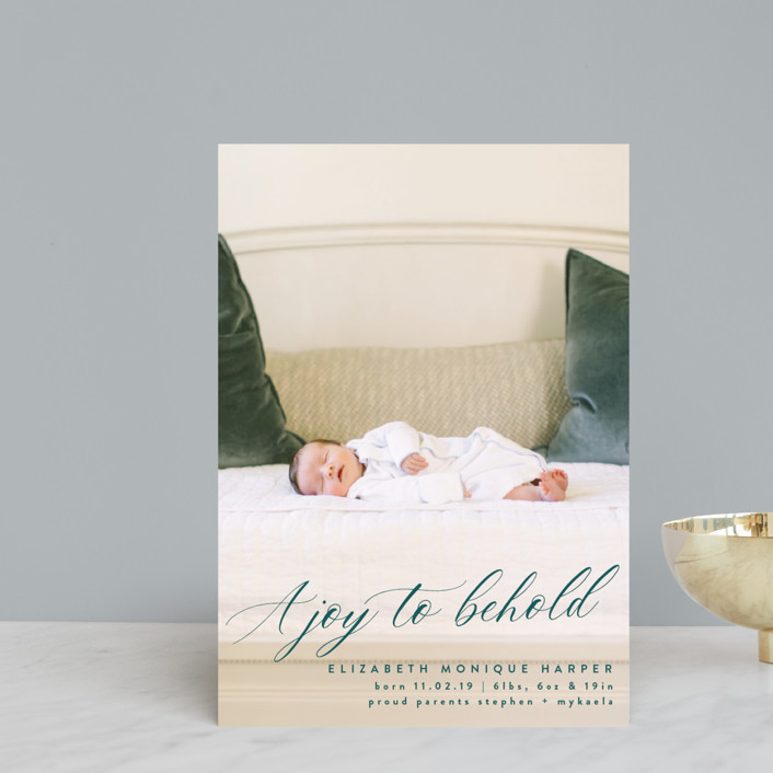 """""""A Joy to Behold"""" - Holiday Birth Announcement Postcards in Teal by Bonjour Berry."""