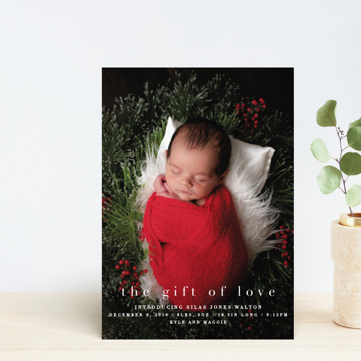 """""""the gift of love"""" - Holiday Birth Announcement Postcards in Blizzard by Bethany Anderson."""