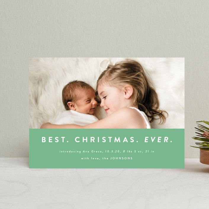 """color block Christmas"" - Modern Holiday Birth Announcement Postcards in Spruce by Kasia Labocki."