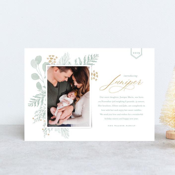 """Juniper"" - Holiday Birth Announcement Postcards in Golden by Oscar & Emma."