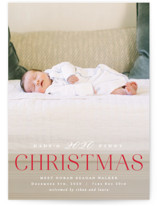This is a red babys first christma by Hooray Creative called Babys 1st Christmas with standard printing on signature in postcard.