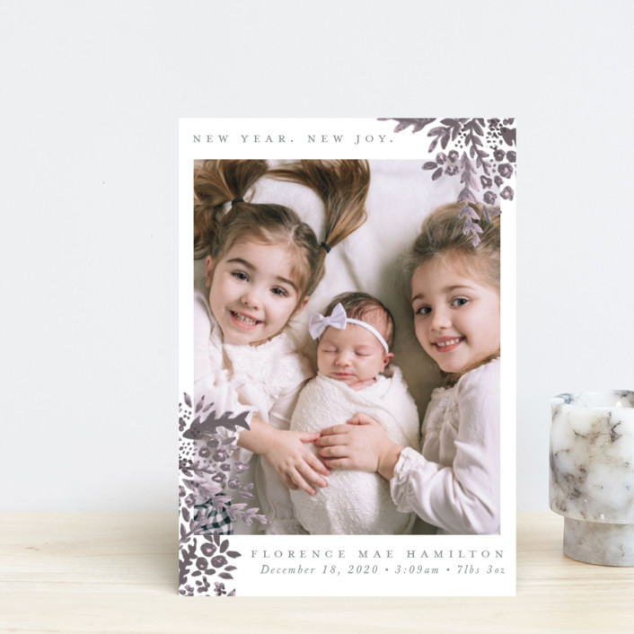 """New Year. New Joy"" - Holiday Birth Announcement Postcards in Plum by Hudson Meet Rose."