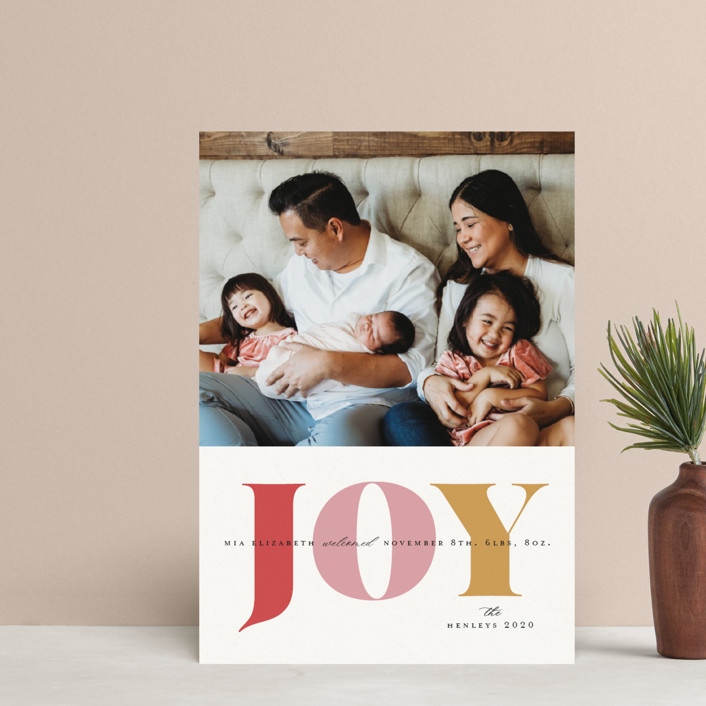 """""""Joyful Arrival"""" - Modern Holiday Birth Announcement Postcards in Winter Rose by Little Print Design."""