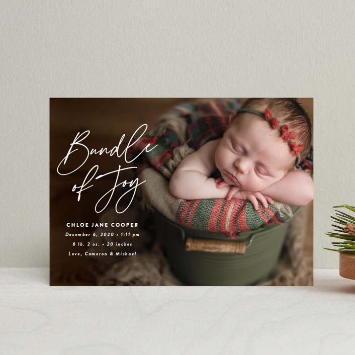 """""""Joyful Bundle"""" - Holiday Birth Announcement Postcards in Winter by Susan Asbill."""