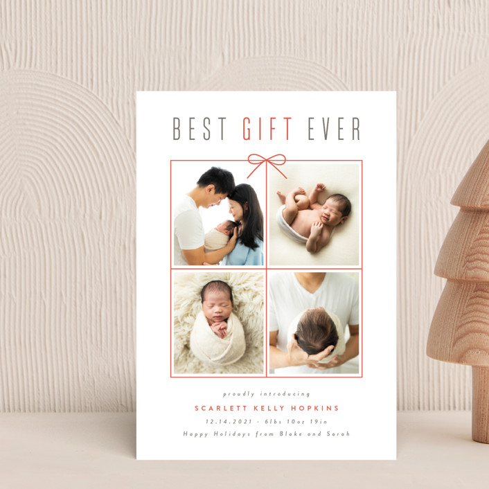 """""""Best Gift Ever"""" - Holiday Birth Announcement Postcards in Holly by Ink and Letter."""