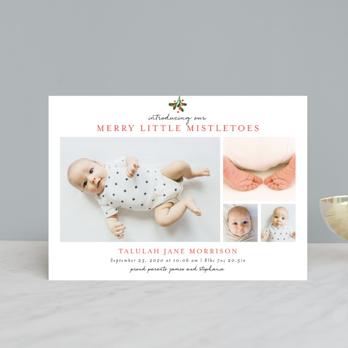 """Merry Little Mistletoes"" - Modern Holiday Birth Announcement Postcards in Berry by Melissa Egan of Pistols."