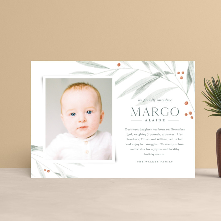 """""""Joyous Occasion"""" - Holiday Birth Announcement Postcards in Sage by Karly Depew of Oscar and Emma."""