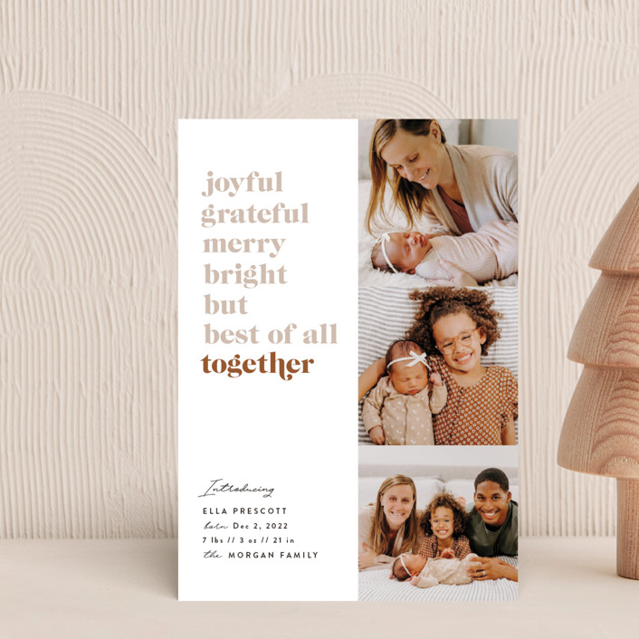 """""""Best of All"""" - Holiday Birth Announcement Postcards in Cider by Julie Murray."""